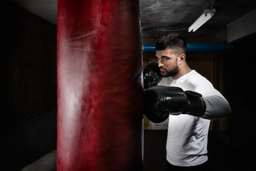 Portrait of young man exercising at the gym. He is practicing with boxing gloves and punching bag