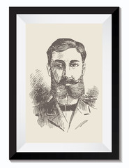 Vintage Retro Vector Drawing Illustration of a Gentleman with a Beard in a Frame. Perfect for Web Design, Shirts, Scrapbooking, Logos, Badges. Great as a Graphic Ressource for Illustration Work.