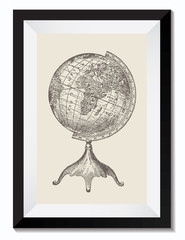 Vintage Retro Vector Drawing Illustration of a Travel Globe with Map in a Frame. Perfect for Web Design, Shirts, Scrapbooking, Logos, Badges. Great as a Graphic Ressource for Illustration Work.