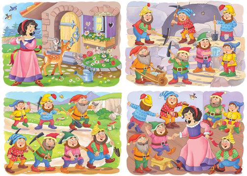 Snow White and the seven dwarfs. Fairy tale. Educational book. Illustration for children