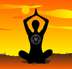 Young girl practising yoga in the sunset. Vector illustration.