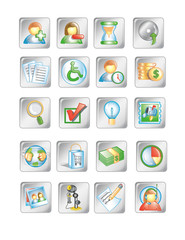 Silver Square Business Icons