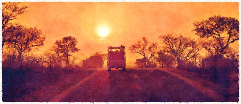 Kruger sunset digital watercolour