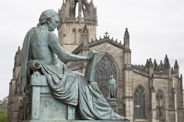 David Hume Statue by Stoddart with St Giles Cathedral, Royal Mile Street, Edinburgh