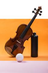Натюрморт со скрипкой, шаром и тёмной бутылкой