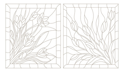 Set contour illustrations in the stained glass style, tulips and crocuses, dark outline on a white background