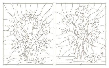 Set contour illustrations of the stained glass bouquet of poppies and sunflowers in a vase