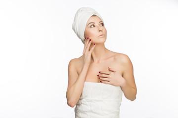Women in white towels in spa&wellness.