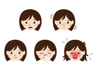 花粉症の女性の顔 イラストセット