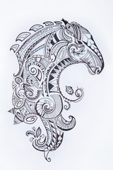 Sketch of a horse in a beautiful pattern on a white background.