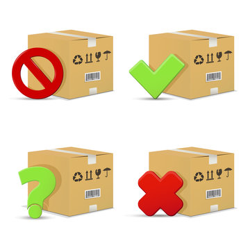 Cardboard boxes with stop and question signs, wrong and right check marks. Isolated on white background.