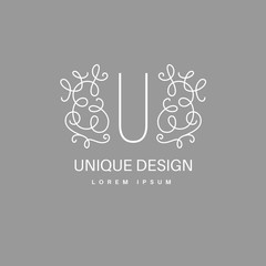 Vector monogram with floral border