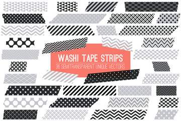 Grey, Black and White Washi Tape Strips with Torn Edges and Different Patterns. 36 Unique Semitransparent Vectors. Photo Sticker, Print / Web Layout Element, Clip Art, Scrapbook Embellishment