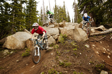 Mountain biker jumping above logs in forest