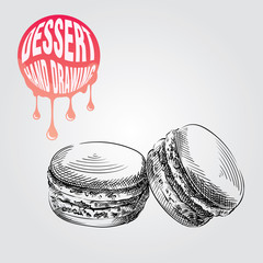 Macaroon hand drawn sketch isolated on white background and pink blob with drops. Dessert sketch elements vector illustration