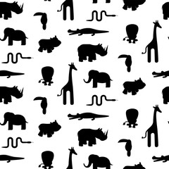 Zoo animal silhouettes seamless pattern vector. Black and white giraffe, lion, rhino, crocodile, toucan and elephant on white background.