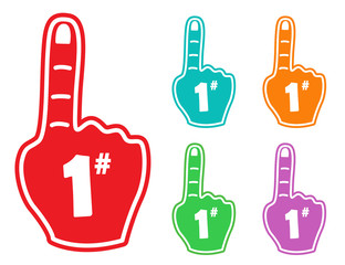 Foam finger number 1 hand fan isolated color design vector stock