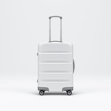 White Luggage mockup, Suitcase, baggage, 3d rendering
