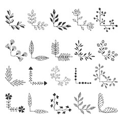 Set of fancy floral corners. Hand drawn ink illustration. Vector isolated.