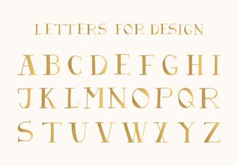 Golden hand drawn serif font.