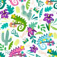 Vector seamless pattern of funny characters in cartoonish style. Spring pattern of chameleons and tropical leaves and flowers.