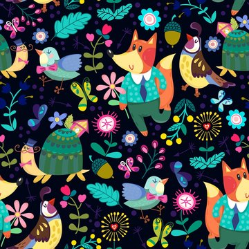 Cute pattern of flowers, foxes, birds and turtle.