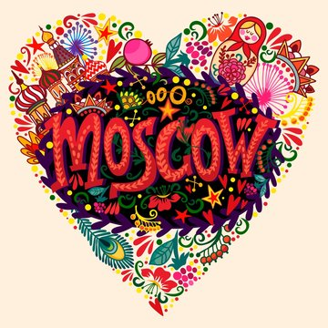 Bright greeting card of Moscow's symbols.