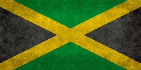 Jamaican Flag with vintage distressed textures