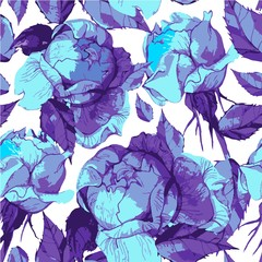 Vector seamless pattern of beautiful peonies in gentle color. Amazing summery background.