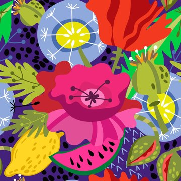 Bright juicy summer pattern of bright flowers, poppies, dandelions, lemons and leaves in amazing bright flowers.