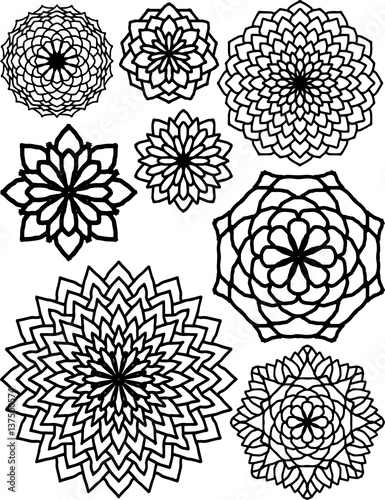 Vector Line Drawing Flower Pattern : Quot abstract flower patterns drawings black and white