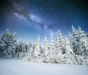 fantastic winter meteor shower and the snow-capped mountains. Ca