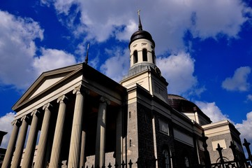 Baltimore, Maryland - Juy 23, 2013:  The imposing Baltimore Basilica built in 1821 with its neo-classical Greek west front, he first Catholic cathedral built in the USA  *