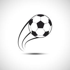 Football ball Fly Vector icon. Soccer ball Fly Trace Icon.