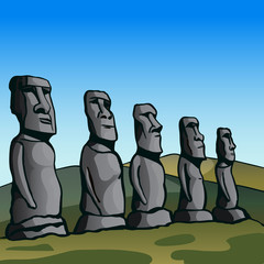Easter Island. Stone idols. The story of the lost civilization. Vector Image.