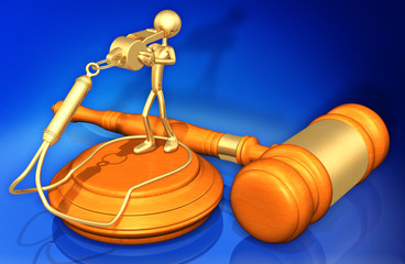 Whistle Blower Law Legal Gavel Concept 3D Illustration