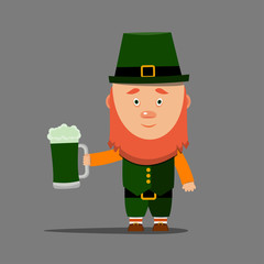 Happy St. Patrick's day. Cartoon leprechaun with mug of green beer on grey background