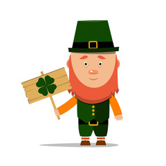 St. Patrick's day. Cartoon Leprechaun with a wooden banner with clover on white background