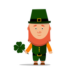 St. Patrick's day. Cartoon leprechaun with clover on white background