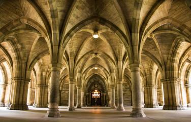 Spectacular architecture inside the University of Glasgow main building, Scotland, UK.