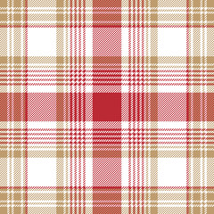 Beige red white check plaid seamless pattern