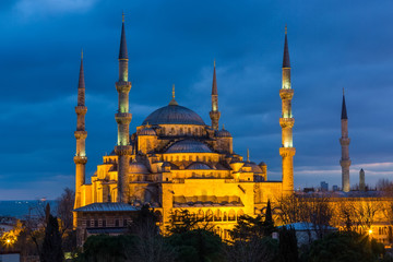 Sultan Ahmed Mosque (Blue Mosque) in Istanbul  on a sunset in evening illumination