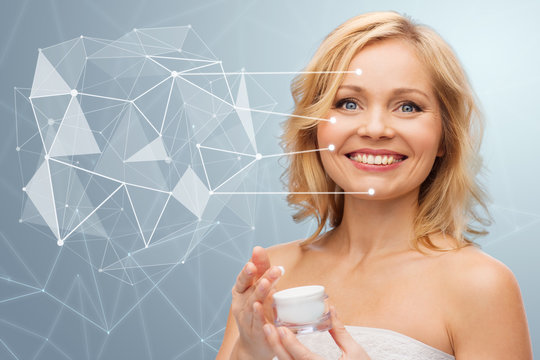 woman with moisturizer and low poly projection