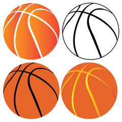 Set of basketball balls on a white background, Vector illustration