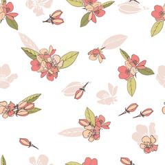 Blooming flowers. Seamless pattern. Gentle tones