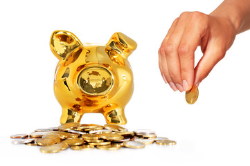 Piggy bank isolated over white.