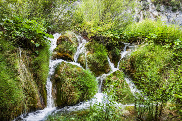 Cascades waterfalls, among the green grass. Plitvice, National Park, Croatia