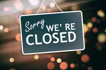 Sorry we are closed sign on abstract background Wall mural