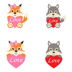 cartoon cute wolf and fox set