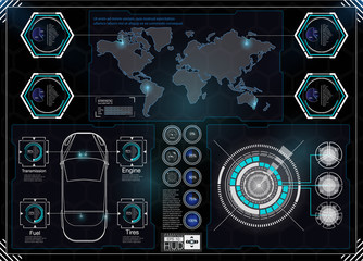 Futuristic user interface. HUD UI. Abstract virtual graphic touch user interface. HUD background outer space. Vector science abstract.  Vector illustration.